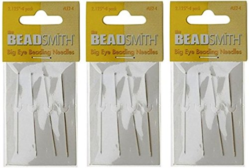Beadsmith Big Eye Needles 2.125'' - 3 Packs of 4 Large Eye Needles each - 12 Needles (in Rigid Pak TM mailer) by Beads Direct USA
