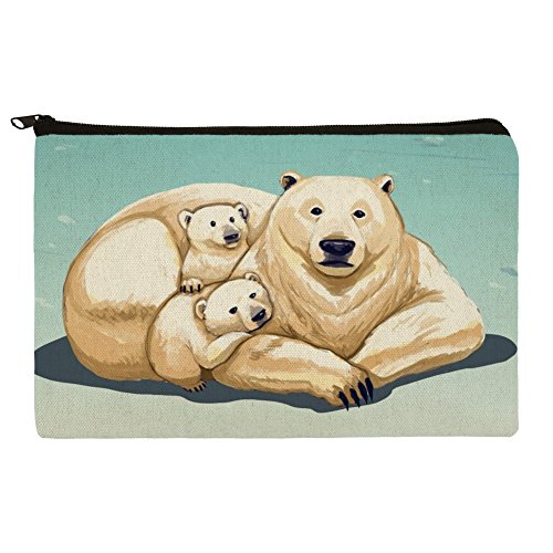 Polar Bear Mom with Cubs Family Makeup Cosmetic Bag Organizer (Arctic Ice Collection)