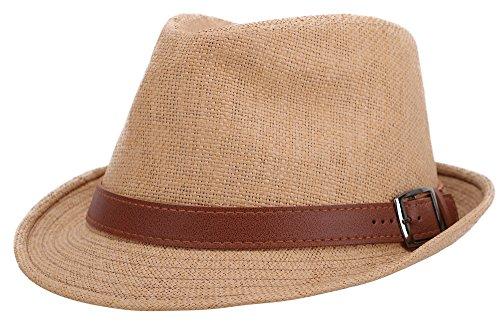 Era Hat Vintage (Men Women's Vintage UV Sun Protective Straw Fedora Hat,Khaki Hat Brown Belt,59cm)