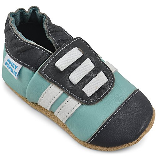 Soft Walker Shoes - Soft Leather Baby Boy Shoes - Toddler Shoes Boys with Suede Soles - Green Sneakers - 6-12 Months