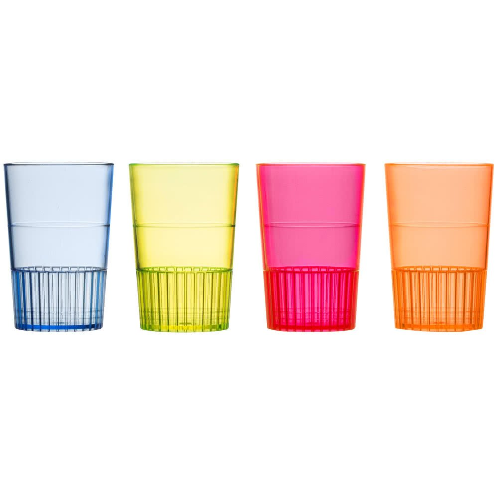 Fineline Quenchers 4115-MIX 1.5 oz. Mixed Neon Hard Plastic Shooter Glass - 300/Case by Fine-line