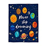 WAZZIT Quote Outer Space Flannel Throw Blanket 50x80 inch Lightweight Plush Microfiber Fleece Comfy Gift Blankets for Bed Couch, Planets and Star Cluster Solar System