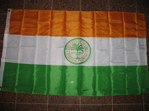 3X5 City Of Miami Double Sided 2Ply Sewn Flag 3'X5' House - Sunrise Map Miami