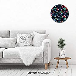 PUYANG 12 Inch Silent Vintage Round Wall Clock Retro Pattern with Colorful Mosaic Modern Optical Artistic S Arabic Numerals Vintage Rustic Chic Style Wooden Round Home Decor Wall Clock