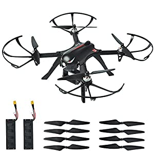 MYSTERYSTONE RC Quadcopter Bugs3 with BRUSHLESS MOTOR, Smart Transmitter Alarm, Mount Support Action Camera GoPro Hero, Sj, Drone with Two Batteries, Two Extra Sets of Improved Propellers Black