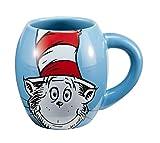 Vandor 51628 Dr. SeussThe Cat in the Hat 18 oz Oval Ceramic Mug, Blue, Red, and White