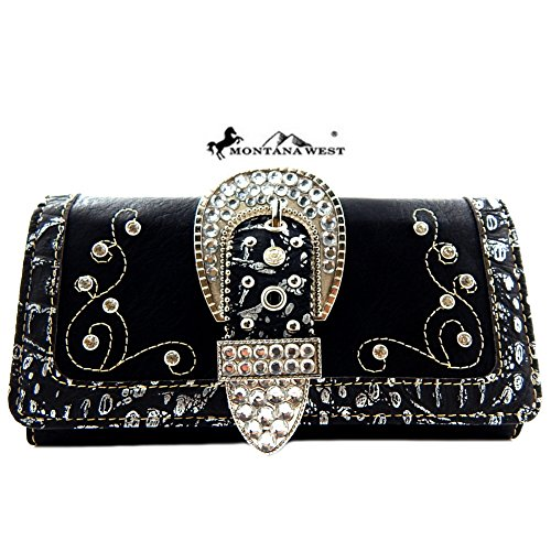 Montana West Rhinestone Belt Buckle Wristlet Wallet (Black Buckle Purse)