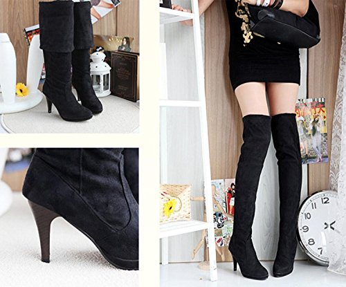 Fashion Women Thigh Minetome Knee Over Shoes Black Boots High Stretchy Heel d5HnSWFx