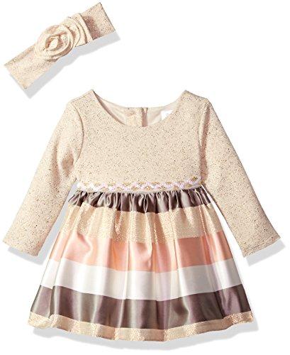 Sparkle Knit Dress (Youngland Baby Girls 2 Piece Sparkle Stripe Dress Knit Headband, Ivory/Multi, 18M)