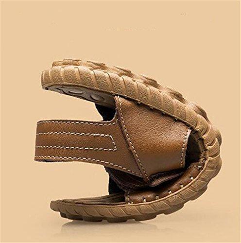 Cuero Genuino Verano Suaves 38 de Abierta Velcro Transpirable Mano eu38 NSLXIE Sandalias Brown 44 Playa Antideslizantes EU38 Suelas de Tamaño de a a Zapatos Hombre Hechas Punta 1wUPx