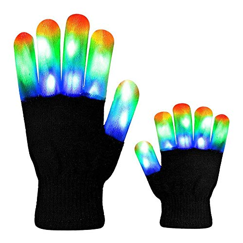 HITOP MAGIFIRE Flashing Colorful LED Light Up Show Gloves, Novelty (Kids, Whole Fingers) -