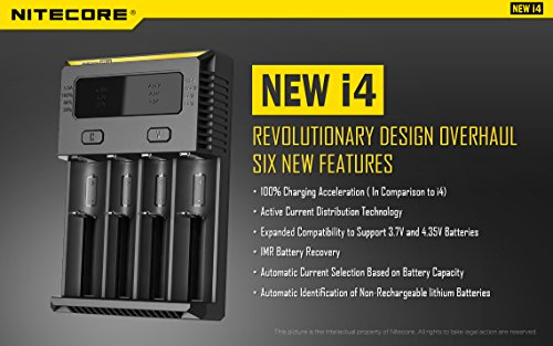 NITECORE i4 Intellicharge Universal Smart 4 slot Battery Charger Bundle with 12V DC Cable, EdisonBright BBX3 Battery Box, 2 X EdisonBright AA to D type Battery Spacer/Converters