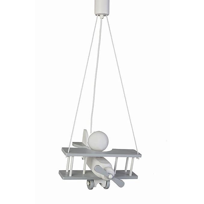 Waldi - Lámpara infantil de mesa Avión gris/blanco, E27: Amazon.es: Hogar