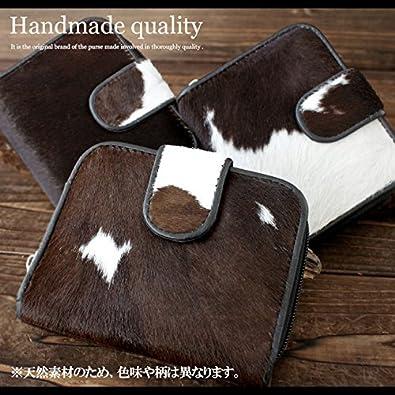 4cb1edee145c Amazon | 2つ折り財布 レザーウォレット メンズ/レディース/ユニセックス ハラコ 毛皮 本革 ラウンドファスナー コンパクト ブラック |  財布