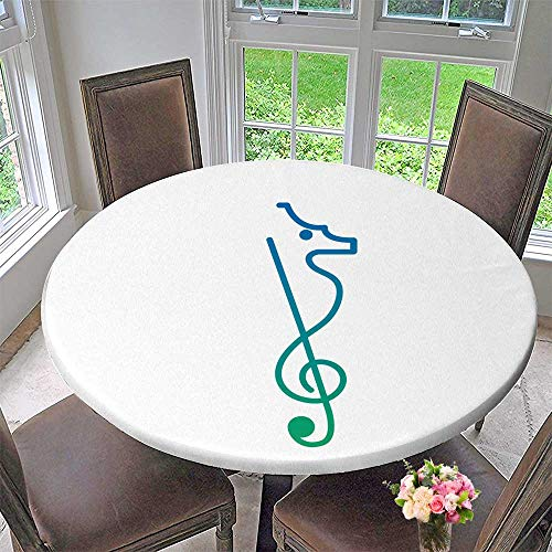 (Luxury Round Table Cloth for Home use Music Logo sea Horse Musical Lounge for Buffet Table, Holiday Dinner 40