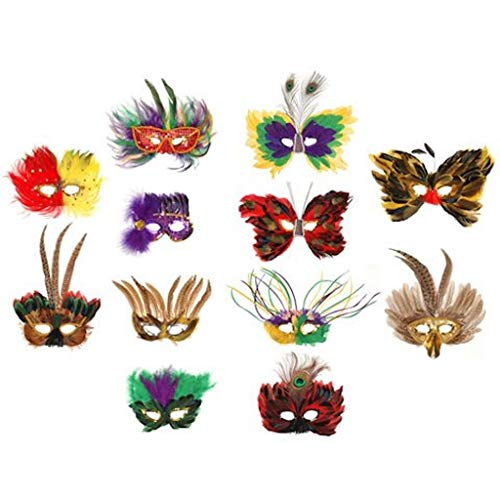 Feather Masks - 12 Assorted - Sequined Mask