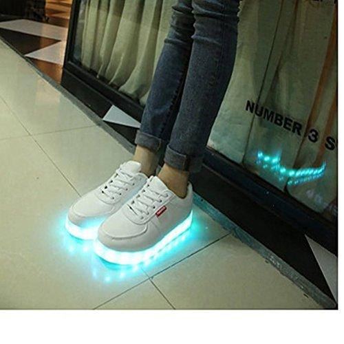 (Present:kleines Handtuch)JUNGLEST Unisex 7 Farbe Farbwechsel USB Aufladen LED Leuchtend Spor Weiß