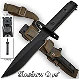 Shadow-Ops Heavy Duty Bayonet Full Tang Drop Point Blade with Wood Handle and ABS Plastic Sheath Features Leg Strap and