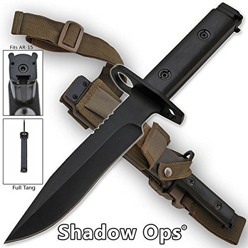 Heavy Duty Plastic Handle Knife (Shadow-Ops Heavy Duty Bayonet Full Tang Drop Point Blade with Wood Handle and ABS Plastic Sheath Features Leg Strap and)
