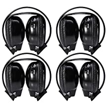 Car Wireless IR Headphone iPad iPod MP3 For In Car TV Video Audio Four Pack of Two Channel Folding Adjustable Entertainment Infrared Headphones