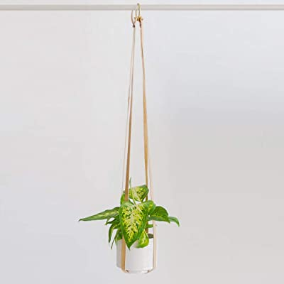 Plant Hanger   Hanging Planters for Indoor Plants   Adjustable Vegan Leather in Beige or Brown   Planter Holder for Pot or Basket to Hang from Wall (Sandy Beige): Garden & Outdoor