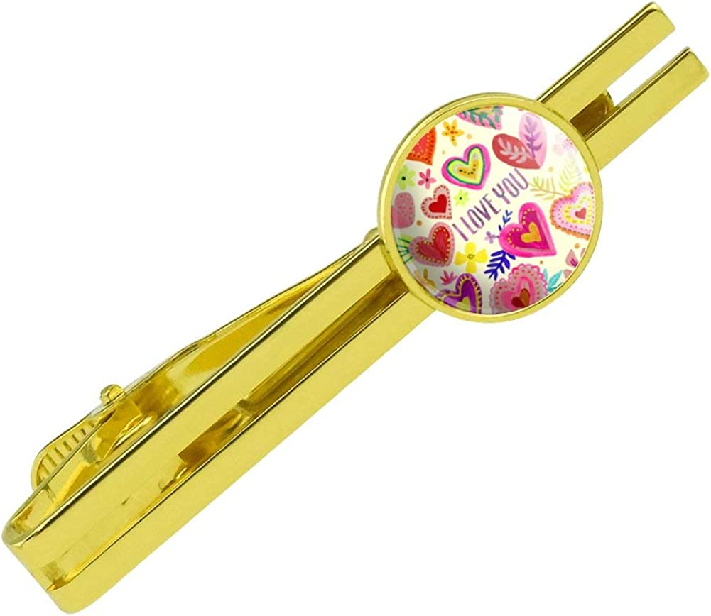 GRAPHICS /& MORE I Love You Valentines Day Hearts Round Tie Bar Clip Clasp Tack Gold Color Plated