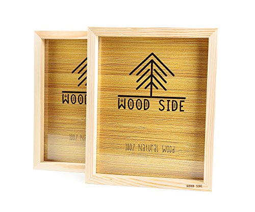 Wooden Picture frames 8x10 Inch with REAL GLASS - set of 2 - 100% eco unfinished wood - thick borders - natural wood color for Wall mounting photo frame]()