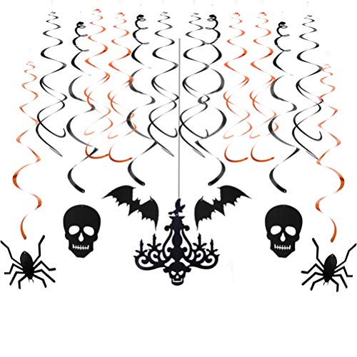 Glitter Chandelier and Swirl Ceiling Halloween Hanging Decoration Kit(black,orange,20pc)