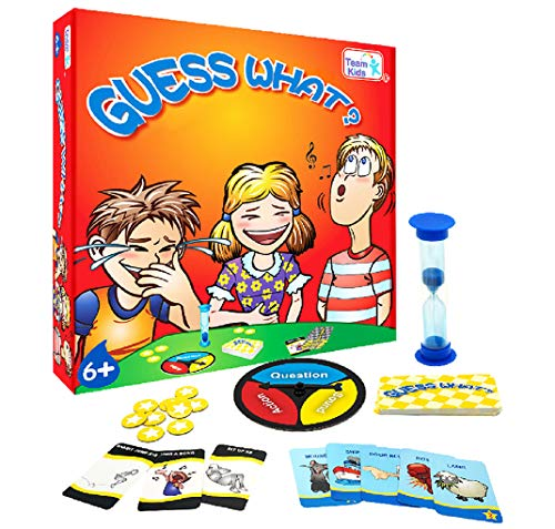 Board Game Guess What for Kids, Minidiva Quick Question Card Game Identity Strategy Family Game with Turntable and Timer, for Children Age 6 Years Up, 2-6 Players