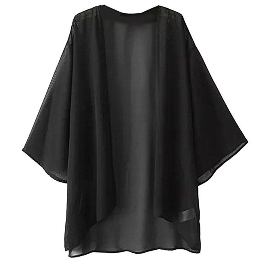 Foreverlove Women's Solid Light Loose Chiffon Sheer Kimono Cardigan Blouses US 8/tag L Black