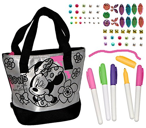 Bastelset zum Bemalen für Umhängetasche / Schultertasche - Minnie Mouse - abwischbar groß - Kindertasche Tasche Stoff Mädchen Tragetasche Mickey Maus QzQjHJGZQd