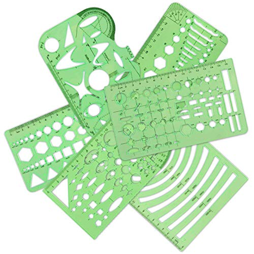 Qincling 11 Pieces Geometric Drawings Templates Stencils Plastic Measuring Template Rulers Clear Green Shape Template for Drawing Engineering Drafting Building School Office Supplies by Qincling (Image #3)