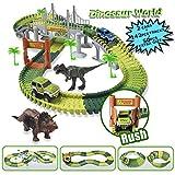 MIECOO Slot Car Race Track Sets Jurassic World Dinosaur Car Toys Create a Road with 142 Pcs Flexible...