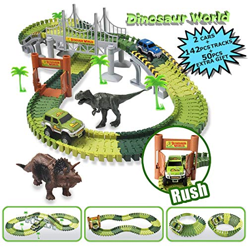 MIECOO Slot Car Race Track Sets Jurassic World Dinosaur Car Toys Create a Road with 142 Pcs Flexible Tracks(50 Pcs Extra Gift), Perfect Birthday for Boys Girls Toddlers Aged 3+
