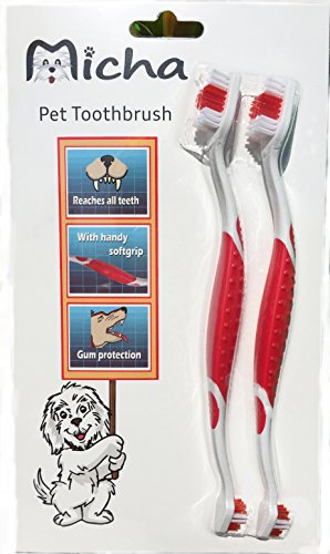 Pet Toothbrush for Cats and Dogs With A Comfortable Ergonomic Easy To Hold Non-Slip Handle- 2 Dual-Headed Dog Toothbrush is Veterinarian Recommended - Use With Dog (Best Dog Toothbrush)