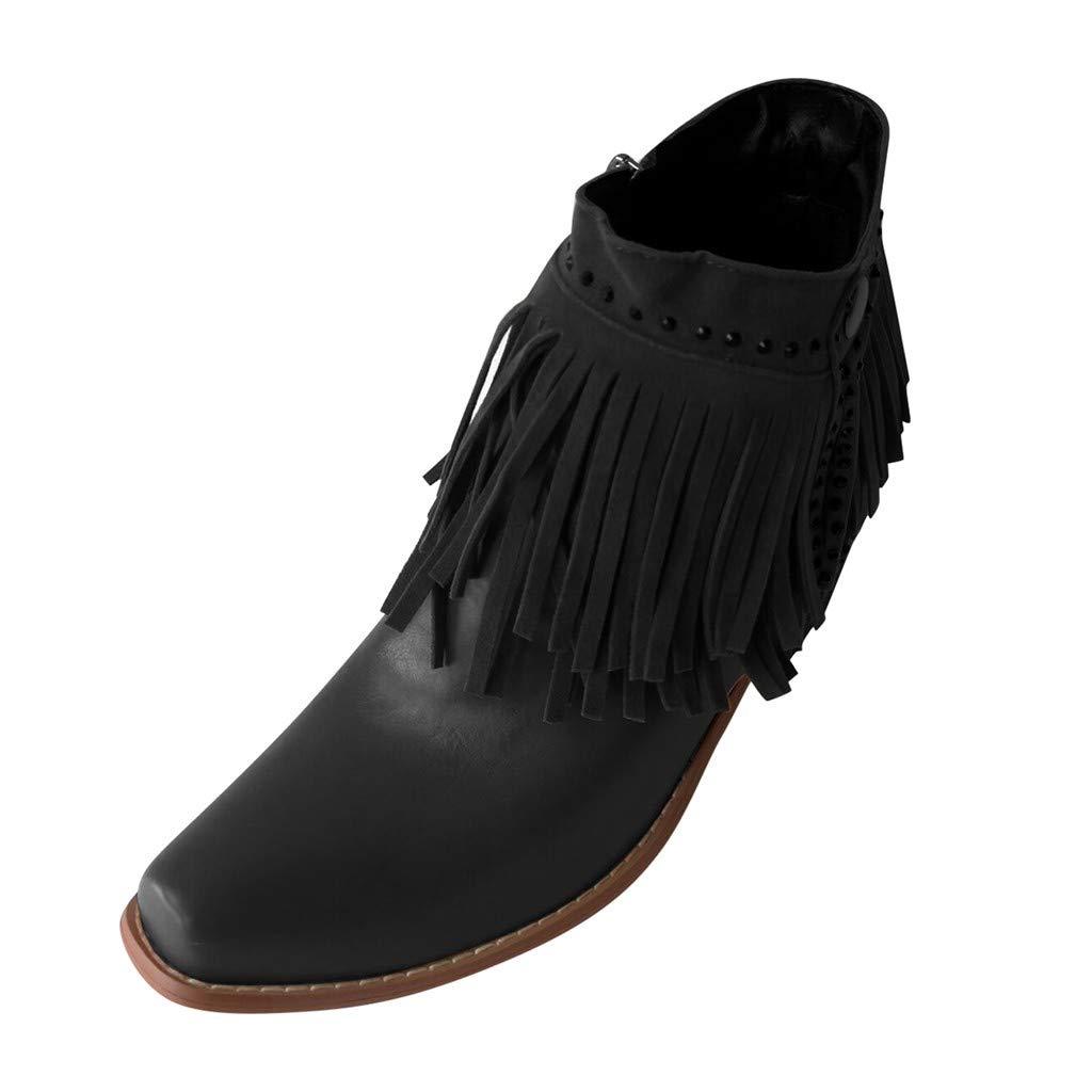SSUPLYMY Kurzschaft Stiefel Damen Vintage Quaste Freizeitstiefel Mode Knöchelseite Reißverschluss Knöchel Nackt Stiefel Square Heel Wanderschuhe Freizeitschuhe