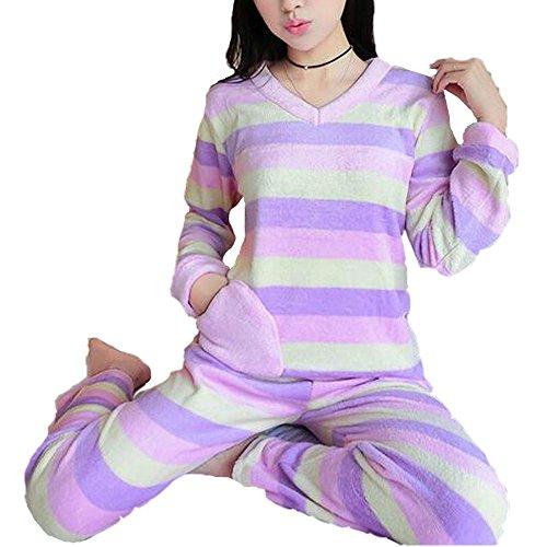 Colygamala Women's Sweet V-neck Fashion Striped Winter Coral Fleece Sleepwear Pajama Set (Pajama Fleece Striped)