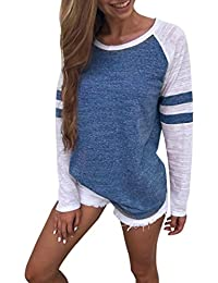 Womens Tank Tops Fashion Ladies Long Sleeve Splice Blouse Tops Clothes T Shirt