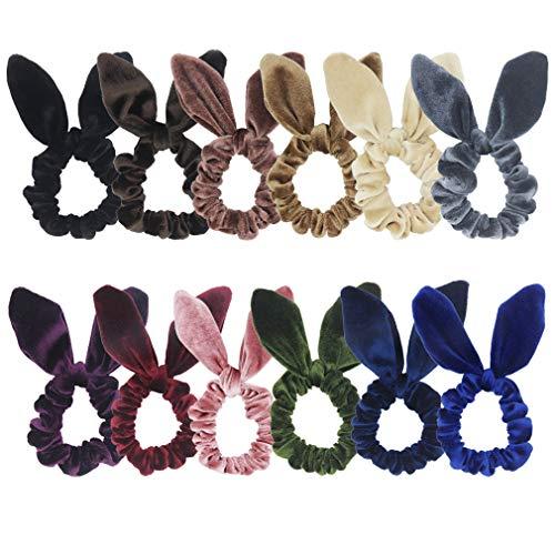 Hair Scrunchies Elastic Scrunchy Accessories - SUSULU 12pcs Bunny Ear Hair Ties Velvet Scrunchy Bobbles Elastic Hair Bands Ponytail Holder Accessory -  furling, H2316MX4US