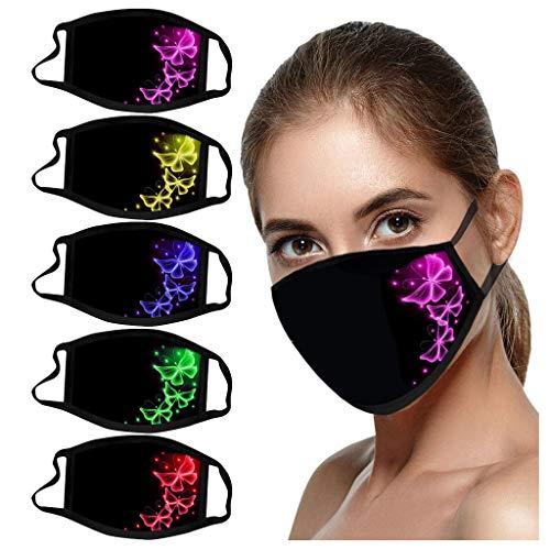 5PC Reusable Cotton Fabric,Fashion Protective, Unisex Black Dust Cotton, Washable (5PC, 1-1-Color mixing)