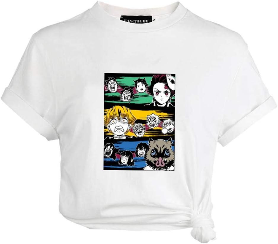 Japanischer Anime Kurzshirt Rundhals T-Shirts f/ür Liebespaar Herren und Damen Tiffley Time Demon Slayer T-Shirt