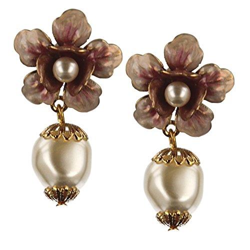 Motif floral perle Boucles d'oreilles
