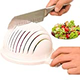 Salad Cutter Bowl Salad Cutter Strainer Chop Fresh Vegetables and Fruit,60 Seconds Salad Chopper,Enjoy Delicious Salad (white)