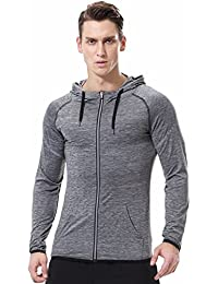 Men's Reflective Hoodies Sweatshirt Slim Fit Zip Up Workout Fitness Gym T shirts Lightweight Quick-Dry