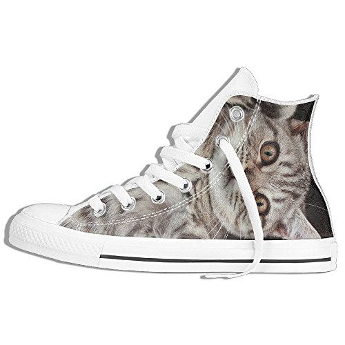 Classic High Top Sneakers Canvas Shoes Anti-Skid British Cat Casual Walking For Men Women White ySRigWc