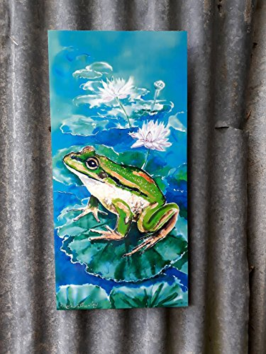 FROG in LOTUS LILY Pond, Outdoor Garden Patio Wall Art, Green FrogNew Zealand, Aluminium Panel from my original silk painting weatherproof. 20 x 12cm