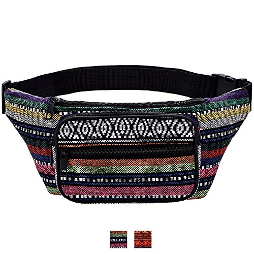Kayhoma Boho Fanny Pack Stripe Festival Bum Bags Travel Hiking Hip Bum Waist Bag by Kayhoma