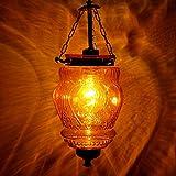 IndianShelf Handmade Decorative Vintage Amber Hanging Glass Light Fixture Small Celling Lamp Chandelier