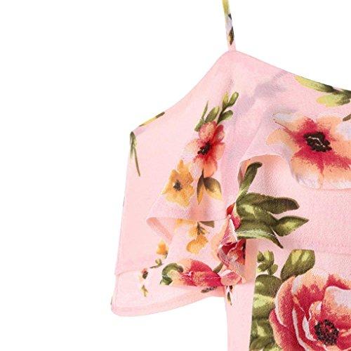 Senza Rosa Rovinci Floreale Bluse Maniche Donna Shirt E T Estate Top Motivo Scollo Camisole in Chiffon Cotone Ruffles Magliette Camicetta A Camicie Camicia Canotte E v twwpFq