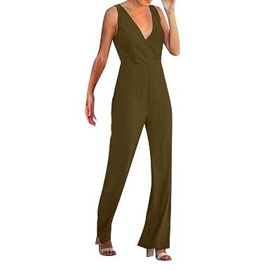 f3dd9cdd975a Matasleno Women's Sexy Casual Sleeveless Ruffle Trim Wide Leg High Waist  Long Jumpsuit Green